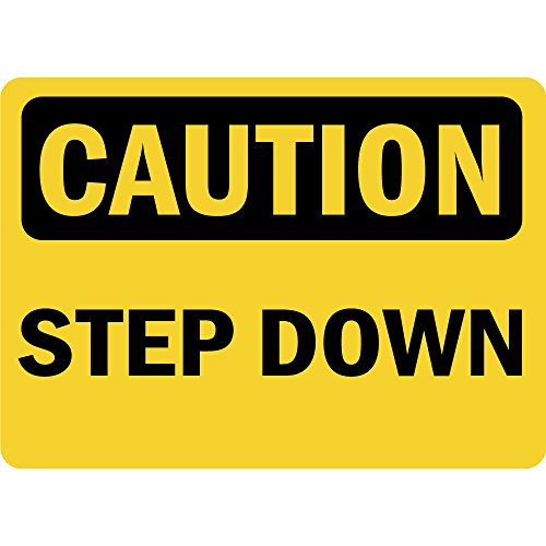 Caution Step Down Osha LABEL DECAL STICKER Sticks to Any Surface -