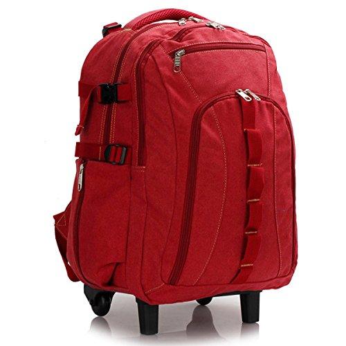 Xardi London, zaino grande in tela, per scuola e università, da viaggio, unisex Red Wheely