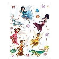 1art1 Disney Fairies Poster-Sticker Wall-Tattoo - Tinker Bell, Silvermist, Vidia, Iridessa, Rosetta, Fawn, Periwinkle (34 x 26 inches)