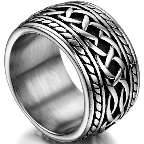Flongo Men's Punk Rock Stainless Steel Cross Retro Style Sovereign Celtic Knot Band Ring, Size 11