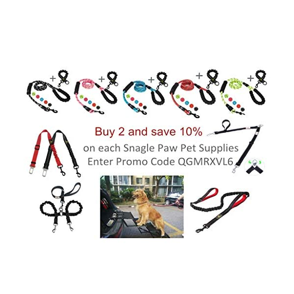Snagle Paw Tangle Free BungeeX2 Double Dog Leash Coupler, 360° Swivel No Tangle Double Dog Walking & Training Leash, Comfortable Shock Absorbing Reflective Bungee Lead Walk 2 Dogs with Ease 7