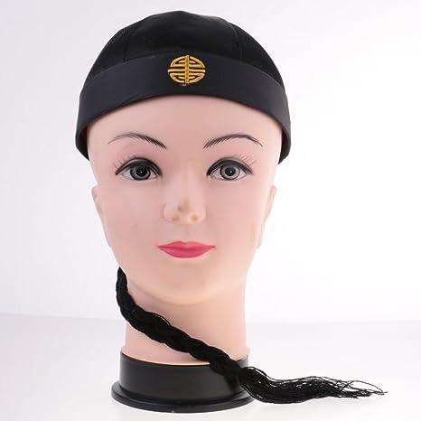 ed97f052d860 Gazechimp Chapeau Chinois avec Natte Bonnet Tissu Satiné Jolie Accessoire Costume  Fantaisie - pour Adulte  Amazon.fr  Jeux et Jouets