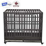 SMONTER 46″ Heavy Duty Dog Crate Strong Metal Pet Kennel Playpen with Two Prevent Escape Lock, Large Dogs Cage with Wheels, Dark Silver For Sale