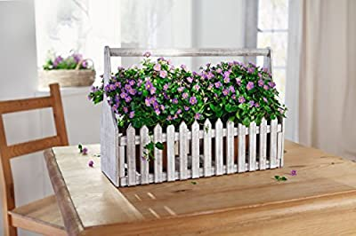 Decorative Wooden Flower Planter Fence Picket Storage, Carry Basket with Handle, Tote Box - White Product SKU: GD222811
