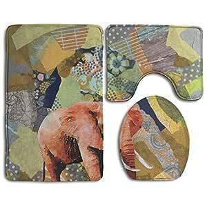 Nicokee Elefante papel Collage alfombrilla de baño alfombra de baño alfombra lavable antideslizante alfombrilla de baño de 3piezas Set