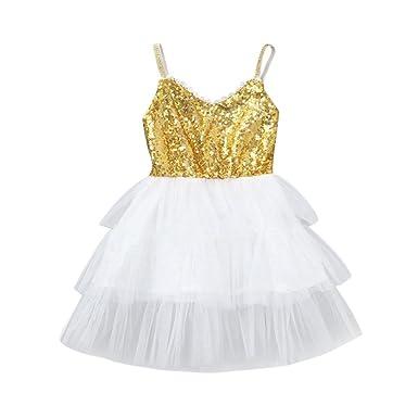 7d338837d32b QinMM Baby Mädchen Kinder Pailletten Kleid Kleidung Sommerkleid Kleinkind  Prinzessin Kleider Freizeitkleidung Sommer Niedlich Kleid Silber