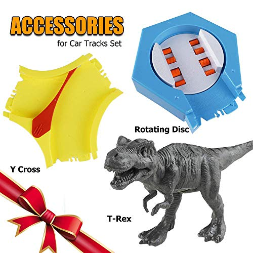 (BooTaa Track Toy Accessories, Automatic Rotation Disk, Cross The Channel for Magic Tracks, Compatible with Most Tracks, T Rex Dinosaur Included)