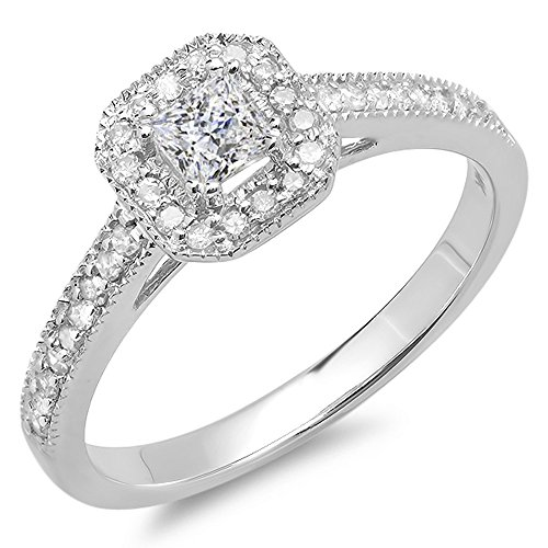 Dazzlingrock Collection 0.50 Carat (ctw) 10K Princess & Round Diamond Ladies Halo Style Bridal Engagement Ring 1/2 CT, White Gold, Size 6