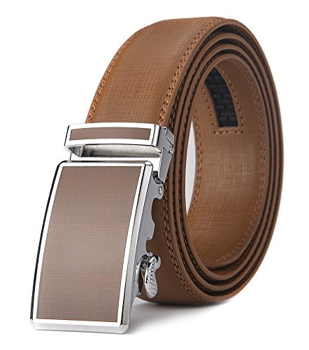 KMBEST Men's Leather Ratchet Dress Belts with Automatic Buckle Gift Box (UP TO 36