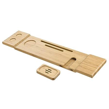 Porta Mensole In Legno.Ripiano Mensola Per Vasca Da Bagno In Bambu Porta Oggetti Da