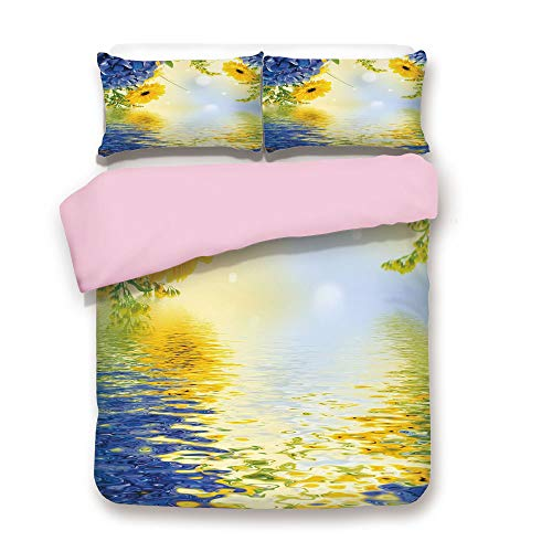 Pink Duvet Cover Set/FULL Size/Romantic Bouquet of Hydrangeas and Asters on Water Background/Decorative 3 Piece Bedding Set with 2 Pillow Sham/Best Gift For Girls Women/Violet Blue Earth Yellow