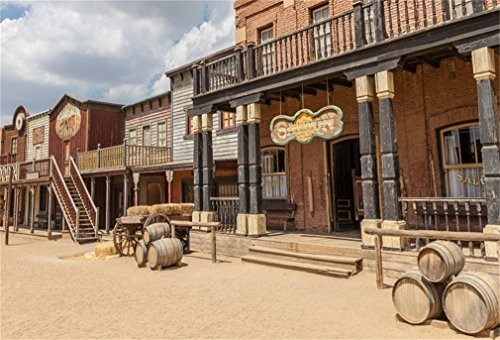 LFEEY 10x8ft Western Scenic Photo Backdrop Beautiful American Far West Cowboy City Town Photography Background Photo Studio Props Wallpaper for Travel Portraits
