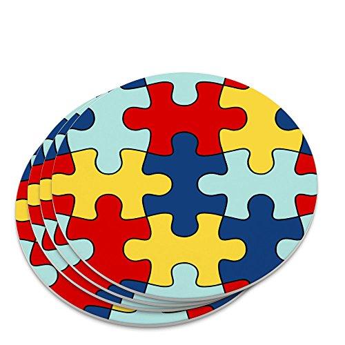 Autism Awareness Diversity Puzzle Pieces Novelty Coaster Set ()