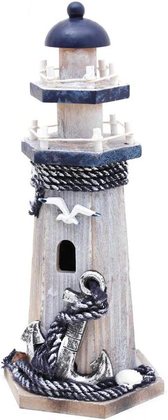 WHY Decor Handmade Cute Lighthouse, Home Decor Article, Photograph Setting, Nautical Decor Marine Ornament Lighthouse Decoration, Beach House Bedroom Bathroom Table Decor(Seabird & Anchor)
