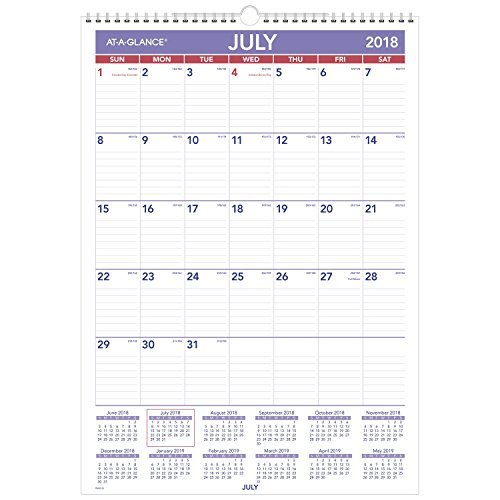 Academic Calendar Wall (at-A-Glance 2018-2019 Academic Year Wall Calendar, Medium, 12 x 17, Wirebound (PMA228))