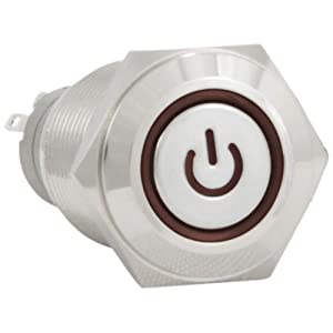 """JacobsParts Latching Maintained Pushbutton ON/OFF Switch Circular Metal Silver with Red Power Symbol LED Light fits 5/8"""" (16mm) Diameter Panel Cutout Hole"""