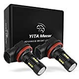 YITAMOTOR 2x Extremely Bright Chipsets 60W H11 LED Bulbs with Projector for DRL or Fog Lights, 6000K Xenon White
