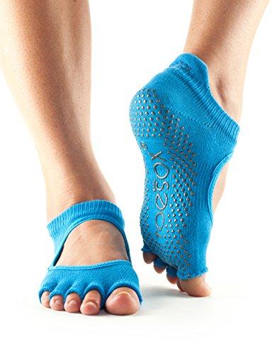 ToeSox Women's Bellarina Half Toe Grip Non-Slip for Ballet, Yoga, Pilates, Barre Toe Socks (Skydiver) Medium
