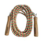 Lenwave 16.4ft Double Dutch Jump Ropes Wooden Handle Ergonomic Durable and Easily Adjustable Best Exercise for Weight-Loss and Health (Red&White&Green) Review
