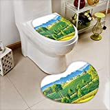 also easy Heart shaped foot pad 2 Pieces Set landscape view of tea farm in thai thailand in Bathroom toilet Mats
