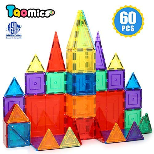 Taomics Magnetic Building Blocks 60PCS, Strong 3D Clear Tiles Children Educational Stacking Toys for Imagination Inspirational Spatial Thinking Development, Magnet Construction Blocks Playboards Set