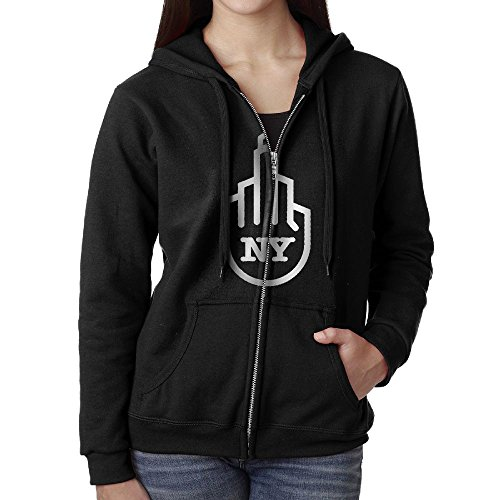 Zcy Hoodie 100% Cotton Womens Full Zipper Hoodie Fleece Sweatshirt With Pockets - I Love The NYC Attitude (Attitude Fleece Hoodie)