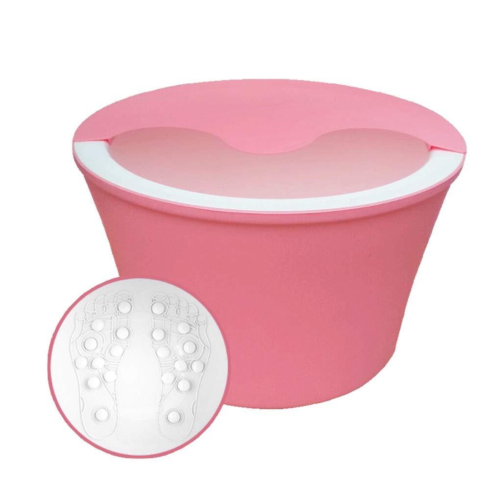 フットバス用バレル厚手のプラスチック製3層断熱フットバスふた付きフットマッサージフットマッサージ深度:25.3CM (色 Pink : Brown) (色 B07NJNL6VT Pink Brown) Pink, カドマシ:779027f8 --- lembahbougenville.com