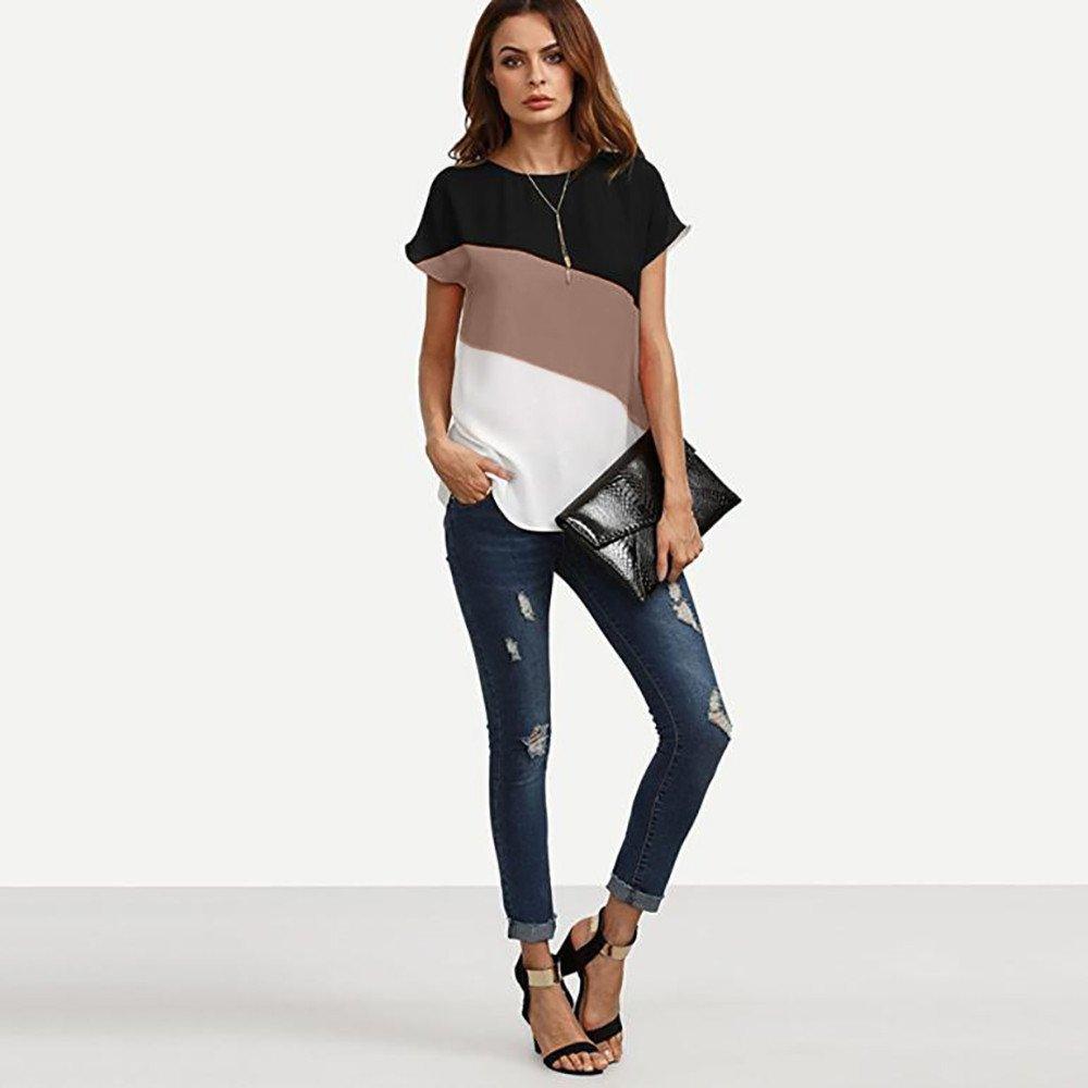 iLOOSKR Summer Casual Women's Chiffon Short Sleeve Contrast Blouse Shirts Tunic Tops(Coffee,XXXL) by iLOOSKR (Image #2)