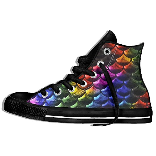 Platform Shoes With Goldfish (Big Mermaid Fish Scale Spandex RAINBOW Fashion Unisex High Top Lace Up Shoes Casual Canvas Non-slip Sneakers For Women And Men)