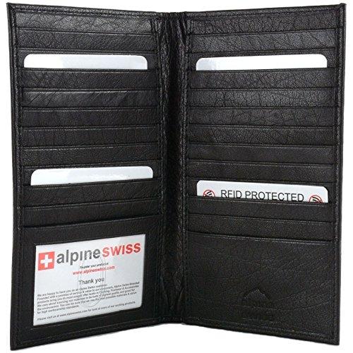 Alpine Swiss Mens RFID Blocking Deluxe Credit Card Case Wallet Leather Secretary