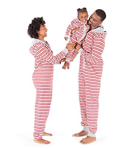 Burt's Bees Baby Big Jumpbees, Matching Family Jumpsuits, One-Piece Hooded Zip-Front Romper, Peppermint Stripe, Kids Medium (8/10) ()
