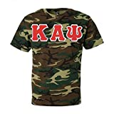 "Greek Gear Kappa Alpha Psi Camouflage T-Shirt – 4"" Red Letters, Large Size Shirt"