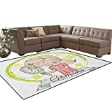 Zodiac Gemini,Floor Mat,Cartoon Style Little Girl with a Mirror and Reflection Twins Concept for Kids,Living Dining Room Bedroom Hallway Office Carpet,Multicolor Size:5'x6'