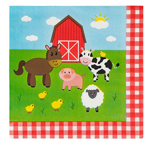Cocktail Napkins - 150-Pack Luncheon Napkins, Disposable Paper Napkins Farm Animals Party Supplies for Kids Birthdays, 2-Ply, Unfolded 13 x 13 Inches, Folded 6.5 x 6.5 Inches (Dinnerware Animals Barnyard)