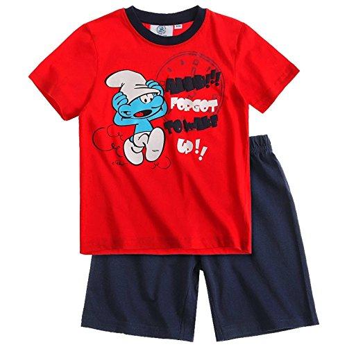 Die Schlümpfe Jungen Sommer 2-Teiler Schlafanzug Pyjama Shorty kurz 3 Typen, Farbe:rot/dunkelblau;Größe:104