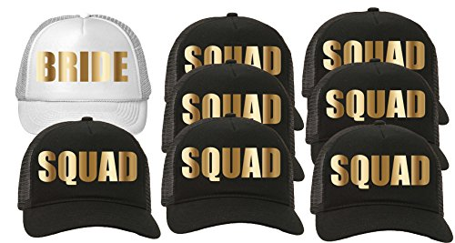 Trucker Hat Squad Bachelorette Party Wedding (8-Pack) 7-Black for the Squad/1-White for the Bride by Custom Apparel R Us