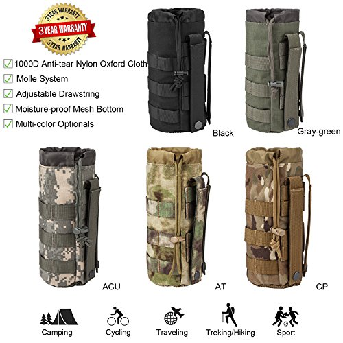 Sports Water Bottles Pouch Bag Tactical Molle Water Bottle Pouch Military Drawstring Water Bottle Pouch Holder Mesh Water Bottle Carrier Attachment Bottle Sling Bag with Pouch ACU Camouflage