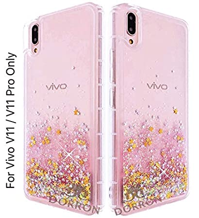 DORRON Floating Stars Liquid Waterfall Girls Soft TPU Mobile Back Case  Cover for Vivo V11 Pro Pink