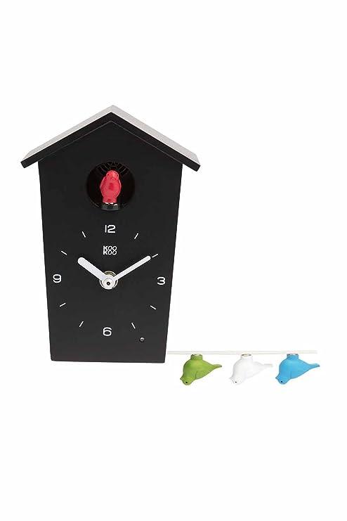 Orologio Cucu Moderno Offerte.Kookoo Birdhouse Mini Nero Piccolo Orologio Cucu Design Modern Canto Di 12 Uccelli Canori O Cuculo Orologio Registrazione Naturale Di Jean Claude