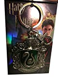 Harry Potter Slytherin Color Crest Silver Pewter Metal Keychain Key Ring Clip