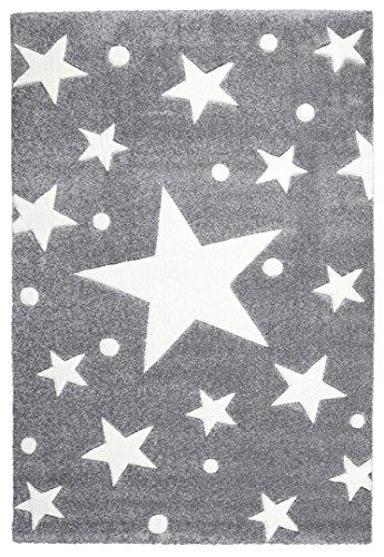 Kinderteppich Happy Rugs STARS silbergrau/weiss 120x180 cm