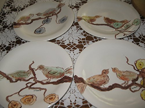 USA hand painted Set of 4 Spring floral baby bird ceramic salad plates by Ceramics Created 4 You