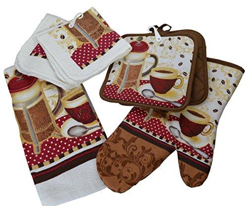 6 Piece Kitchen Linen Set - Stylish Coffee Press Theme - Inc
