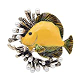 CINDY XIANG Creative Pearl Fish Brooches Women Cute Party Casual Pins Jewelry Coat Dress Shirt Accessories 2018 (Yellow)