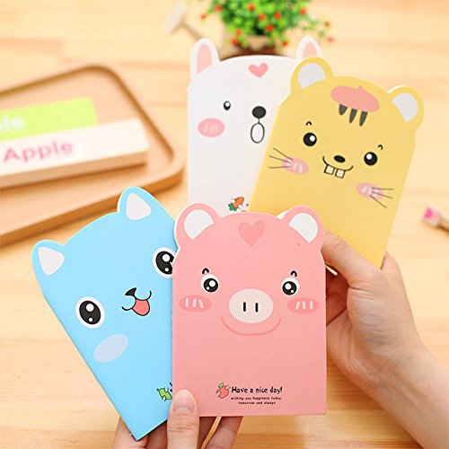 katoot @ 4Pcs/Lot Cute Animal Notebook kawaii Pig–Cuaderno de Bloc de notas portátil Notebooks Diary coreana...