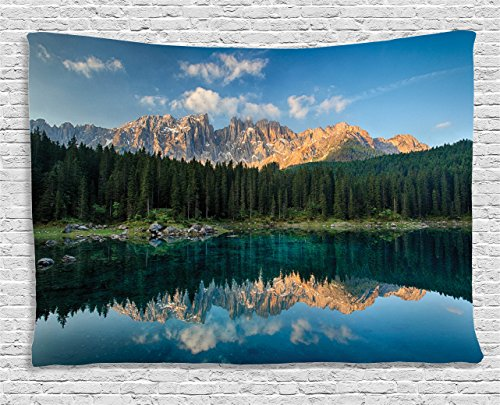 Ambesonne Lake House Decor Collection, Lake with Mountain Forest Landscape Lago Di Carezza Wild Nature Scenic Picture, Bedroom Living Room Dorm Wall Hanging Tapestry, 80 X 60 Inches, Blue Green Teal