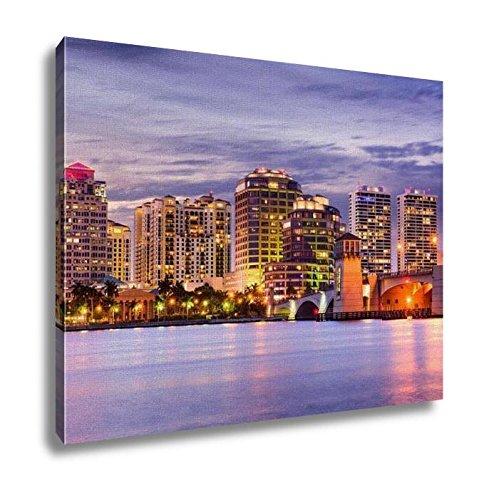 Ashley Canvas, West Palm Beach Florida USA Downtown Skyline Travel Architecture City Modern, 24x30, - Beach West Place City Fl Palm