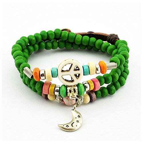Winter's Secret Jade Green Button Adjustable Peace Pattern Alloy Moon Pendant Wood Beaded Bracelet