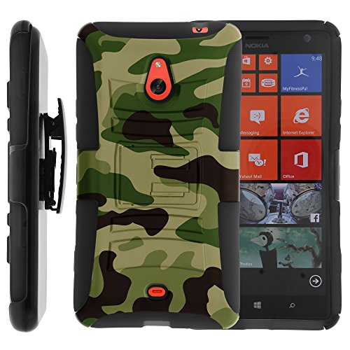 ybrid Dual Layer Armor Phone Case Cover with Kickstand, Holster Belt Clip, and Screen Protector for Prepaid Windows Phone 8 Nokia Lumia 1320 /Cricket, /Aio Wireless (Green Camouflage) ()