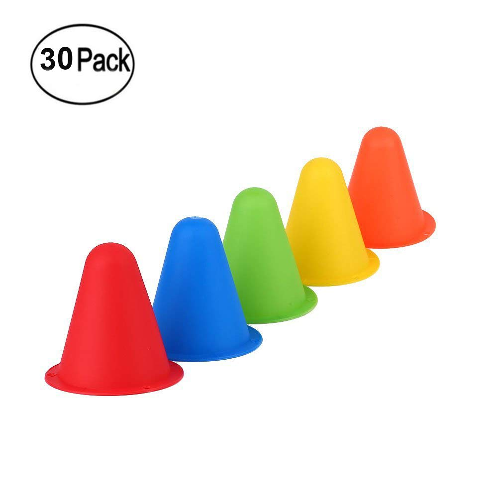 Plastic Traffic Cones - 30 Pack of 8 cm Sports Cones for Physical Education/Sports Training and Race /Car/ Construction Themed Birthday Party